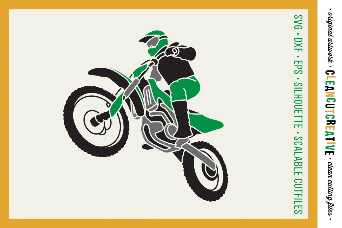 Motocross Dirt Bike design- SVG DXF EPSPNG - Cricut & Silhouette example image 1