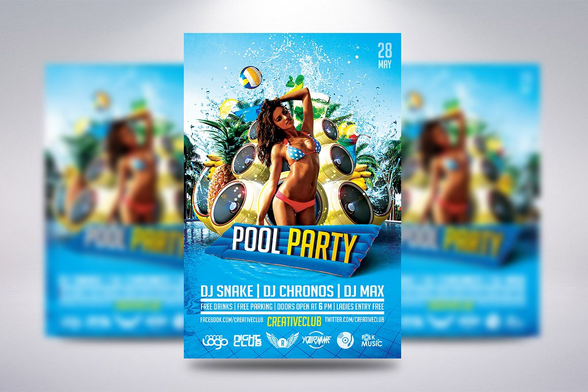 pool party flyer by creative dude design bundles