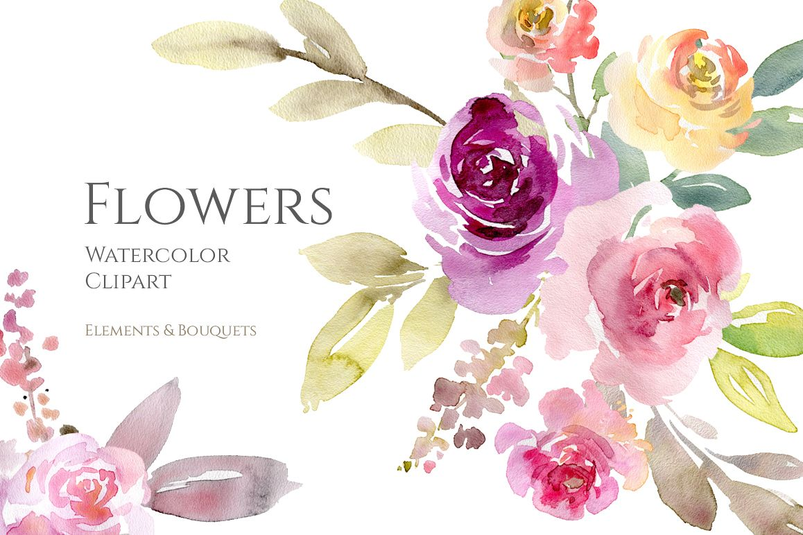 Watercolor Pink Purple Flowers And Bouquets Png Example Image 1