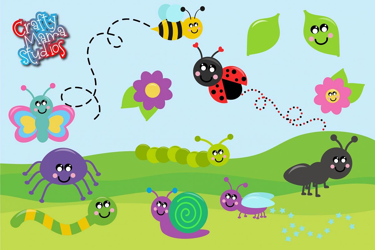 Cute Bugs SVG, Insects, Creepy Crawlers SVG example image 1