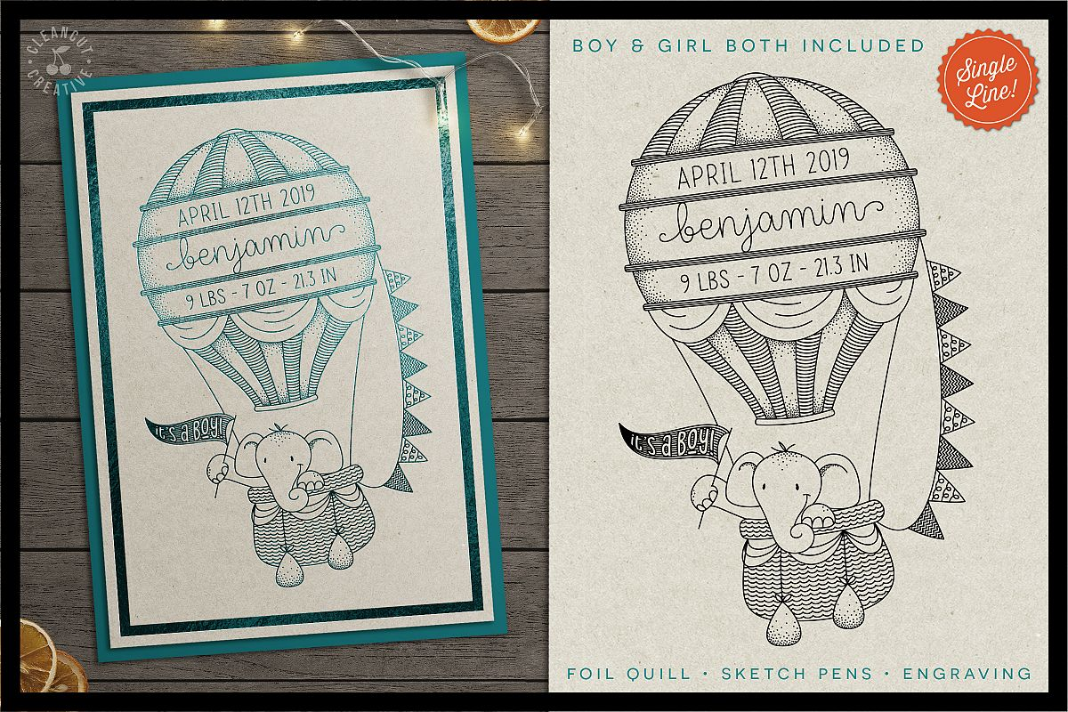 Foil Quill HOT AIR BALLOON Birth Stats Baby Announcement SVG example image 1