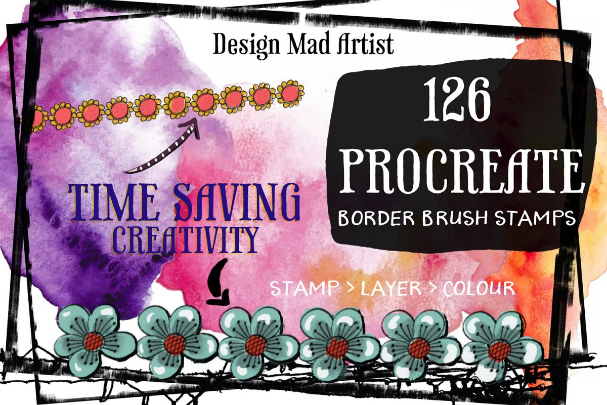 126 Procreate Stamp Border Brushes Example Image 1