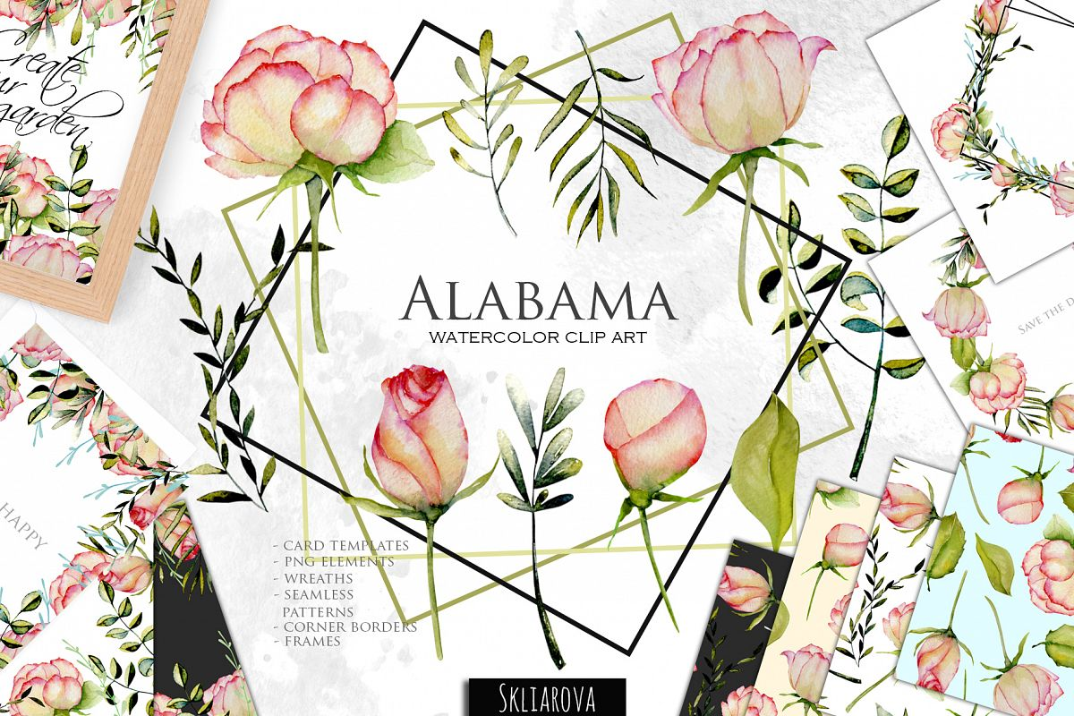 Alabama roses. Watercolor collection. example image 1