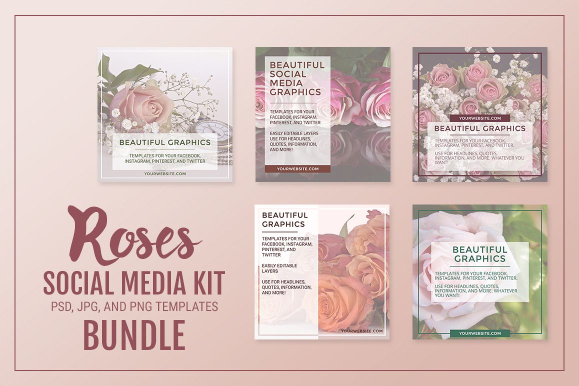Roses Social Media Kit Bundle example image 1