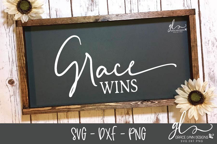 Grace Wins - SVG Cut File - SVG, DXF & PNG example image 1