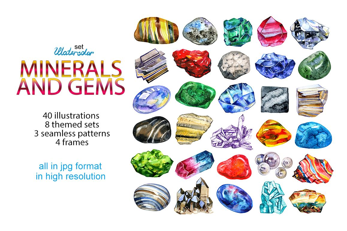 Watercolor minerals and gems example image 1