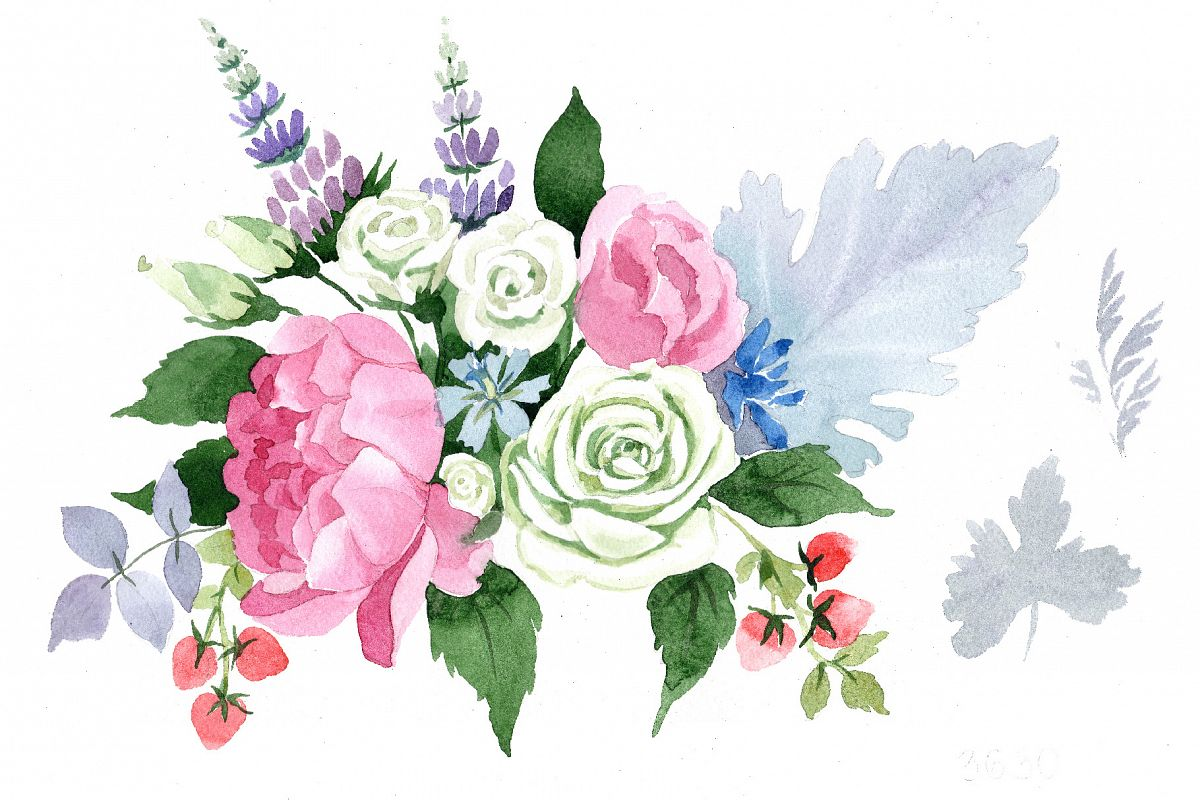 Wedding Pink Bouquet PNG Watercolor Set