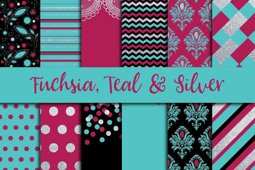 Fuchsia Teal & Silver Digital Paper example image 1