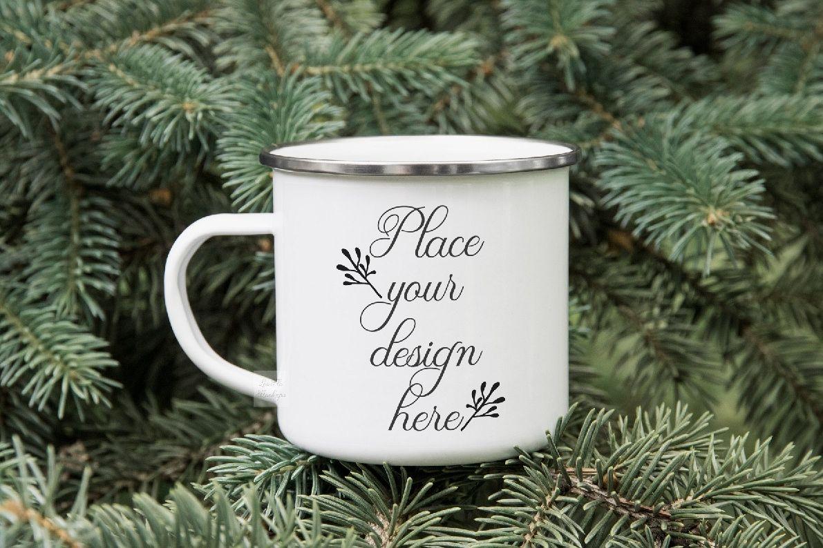 Enamel mockup Campfire tin mug mock up winter psd mockups example image 1