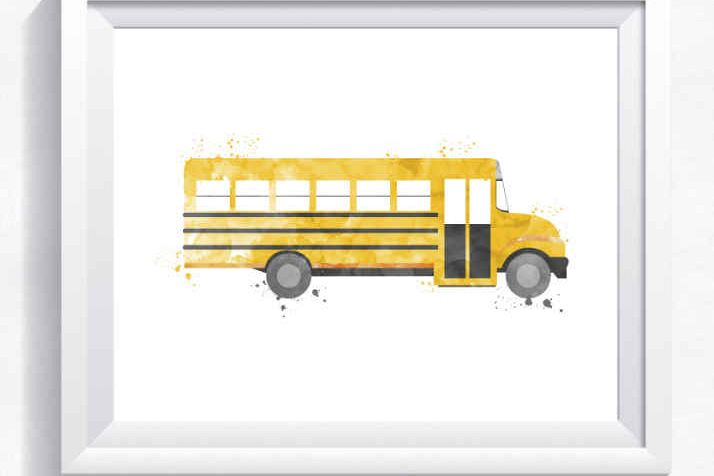graphic about Bus Printable titled Yellow faculty bus printable, bus wall artwork, yellow bus print, shipping printable, boy house wall artwork, little one bed room decor