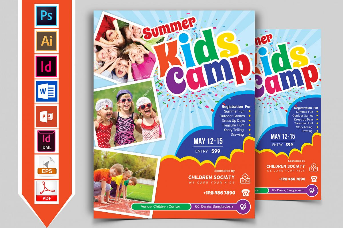 Kids Summer Camp Flyer Vol-03 example image 1