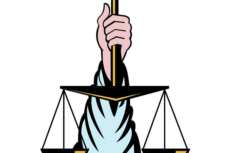 Hand holding scales of justice example image 1