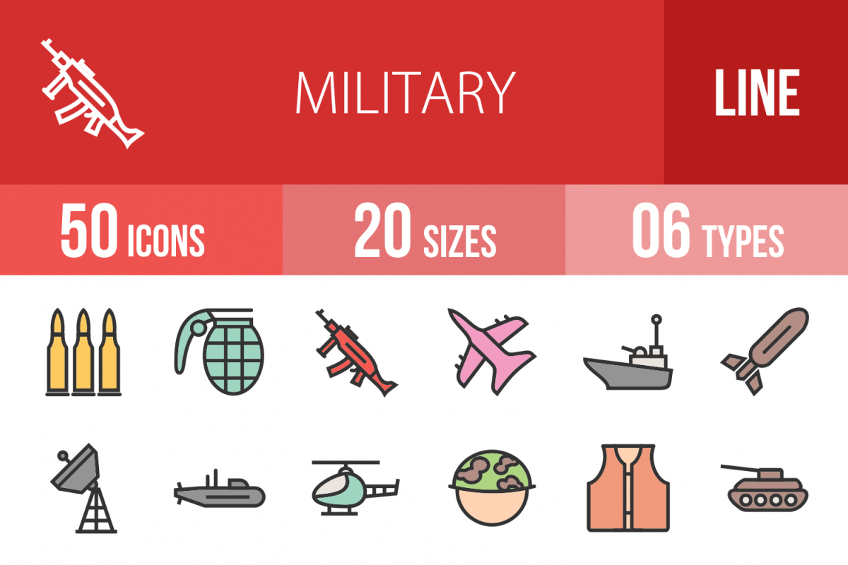 50 Military Linear Multicolor Icons example image 1