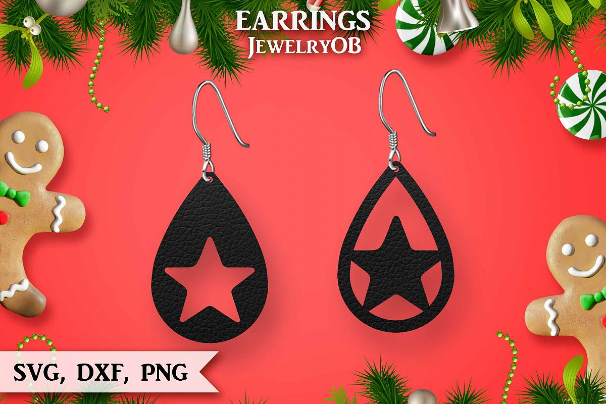 Christmas Earrings, Cut File, SVG DXF PNG, Teardrop, Star example image 1