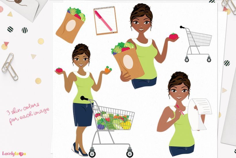 Woman groceries character clip art L262 Cassie example image 1