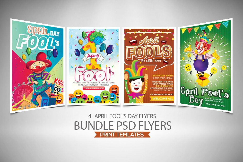 4 April's Fool Day Flyers Bundle example image 1