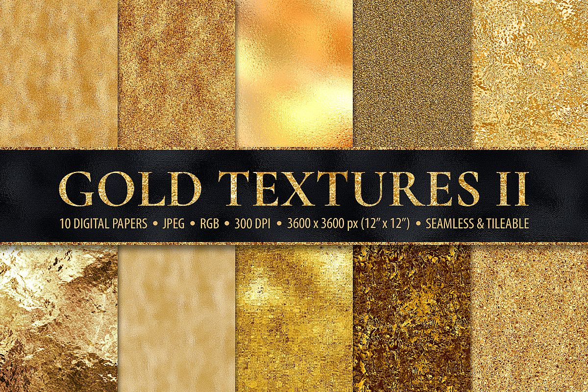 Gold Digital Papers - 10 Seamless Metallic Textures example image 1