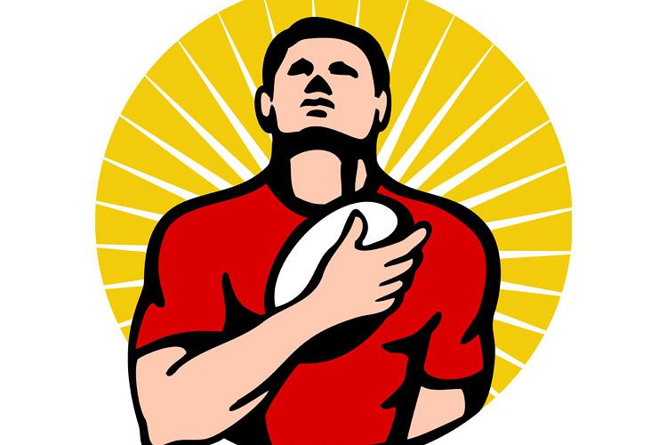rugby player holding ball on breast example image 1