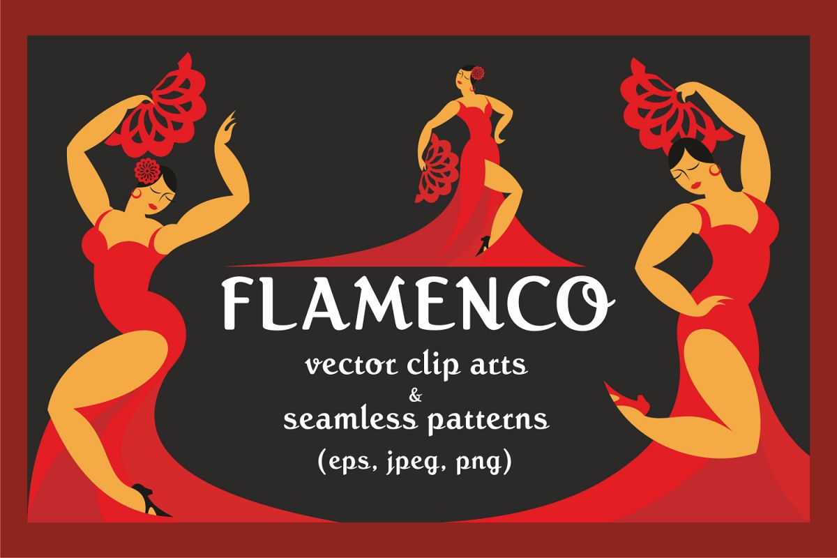 Flamenco. Vector clip arts and patterns. example image 1