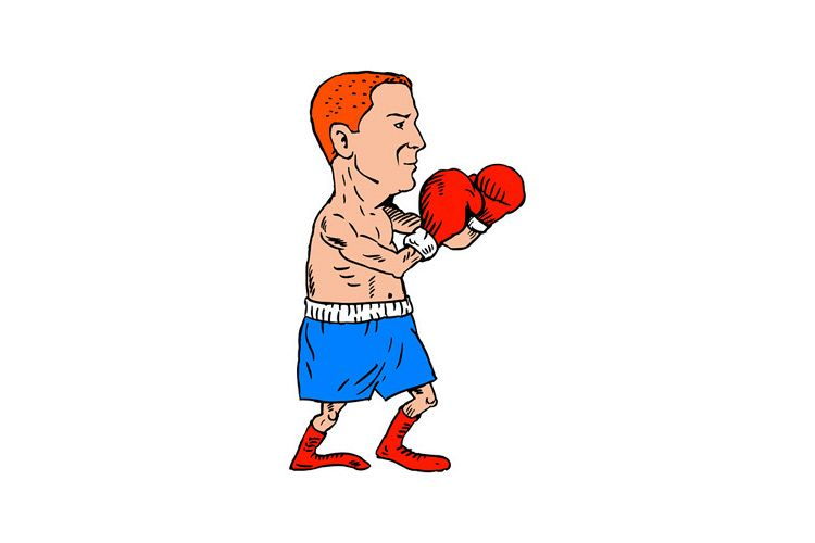 Boxer Fighting Stance Cartoon example image 1