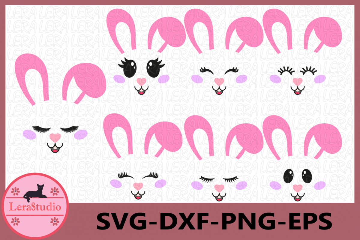 Bunny Easter SVG, Bunny Face Clipart, Rabbit Svg, Cutie SVG example image 1