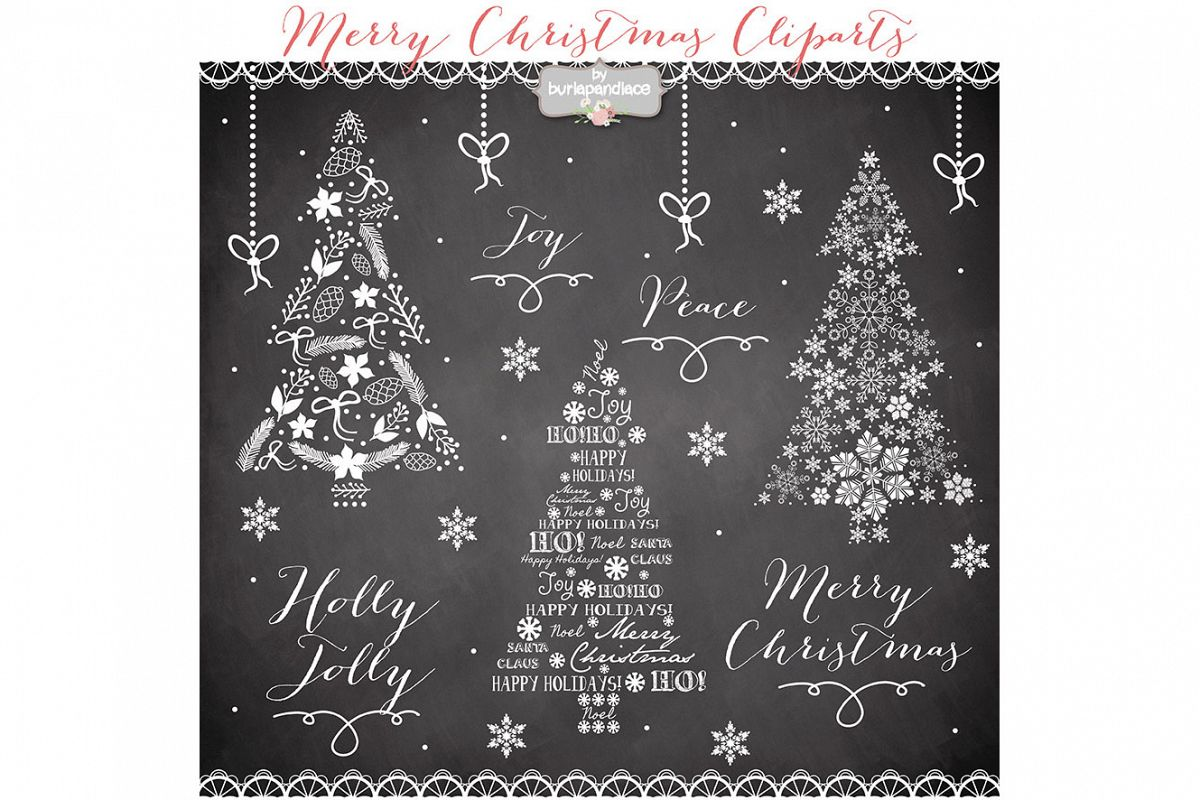 VECTOR Clipart christmas tree chalkboard clip arts example image 1