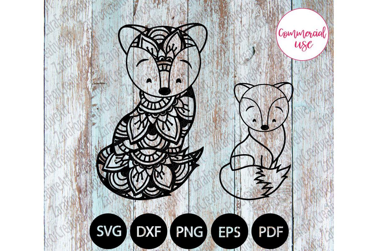 cute FOX mandala svg example image 1
