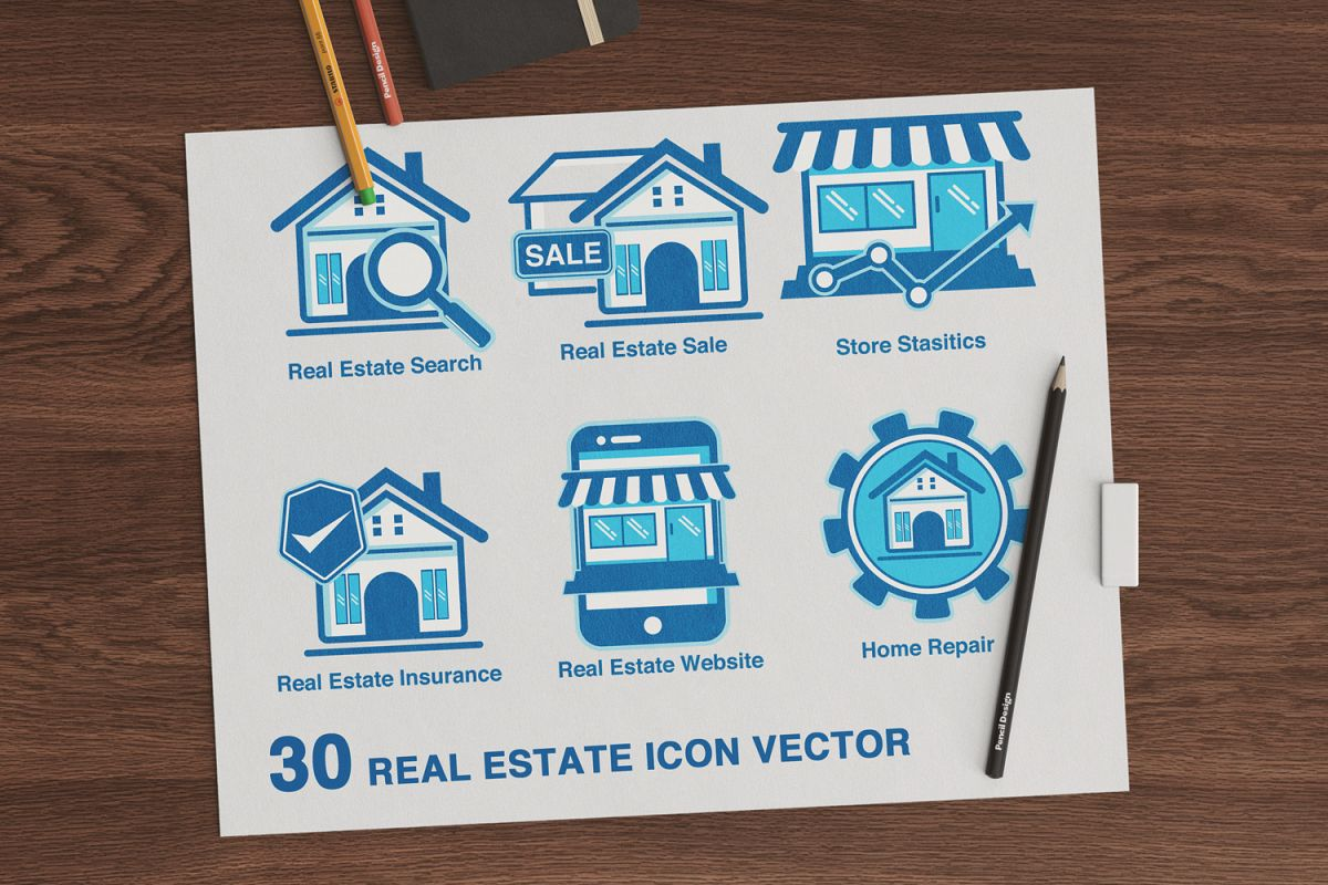 30 real estate icons set example image 1