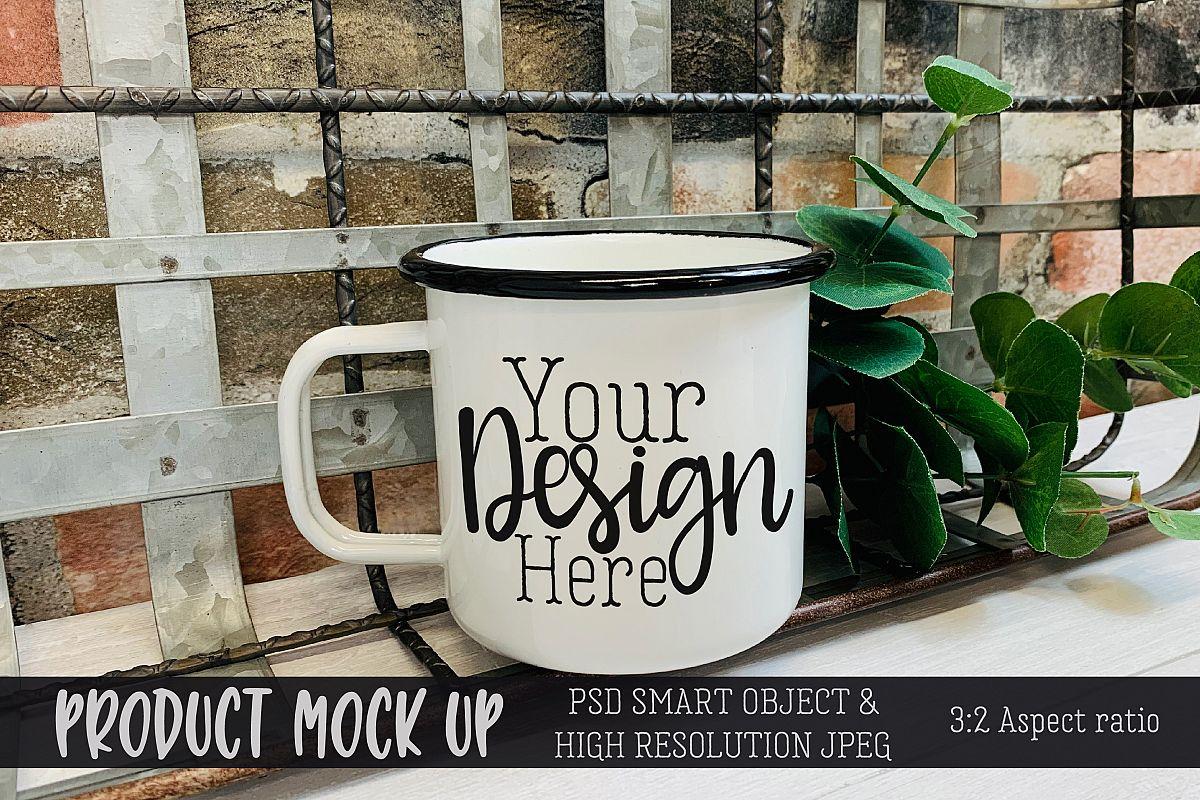 Mug on brick wall Craft MOCKUP | PSD & JPEG example image 1