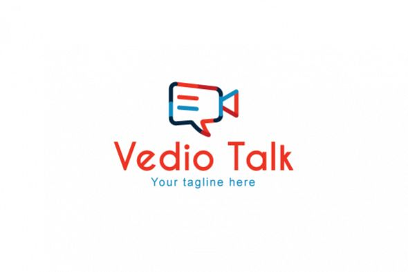 Video Talk - Chat Icon with Movie Camera Stock Logo Template for Blog & App example image 1