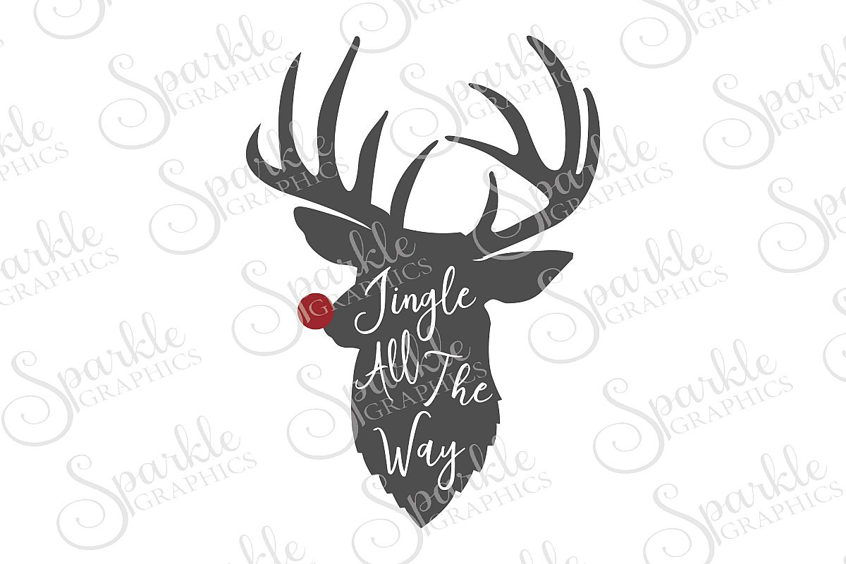 Reindeer Jingle All The Way File Set | SVG, EPS, DXF, PNG example image 1