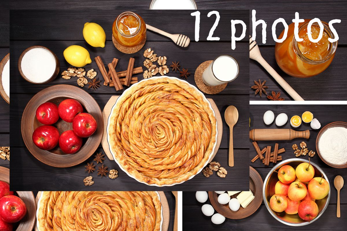 Set 12 photos Apple Pie and raw ingredients for baking. Sweet food series. Dessert. Top view example image 1