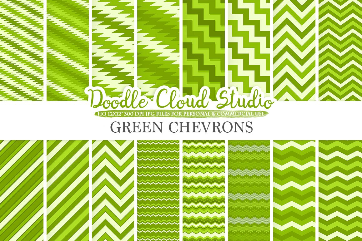 Green Chevron digital paper, Chevron and Stripes  pattern, Zig Zag lines background, Instant Download for Personal & Commercial Use example image 1