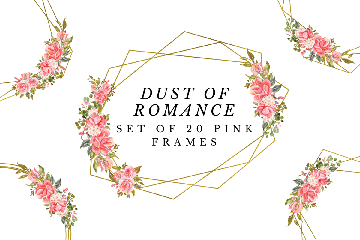 Pink Geometric Gold Frames Wedding Floral Crystal Frames