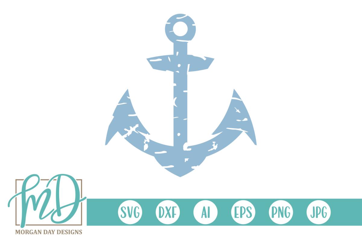 Grunge Anchor - Nautical SVG, DXF, AI, EPS, PNG, JPEG example image 1