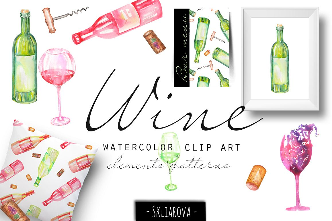 Wine. Watercolor clip art. example image 1