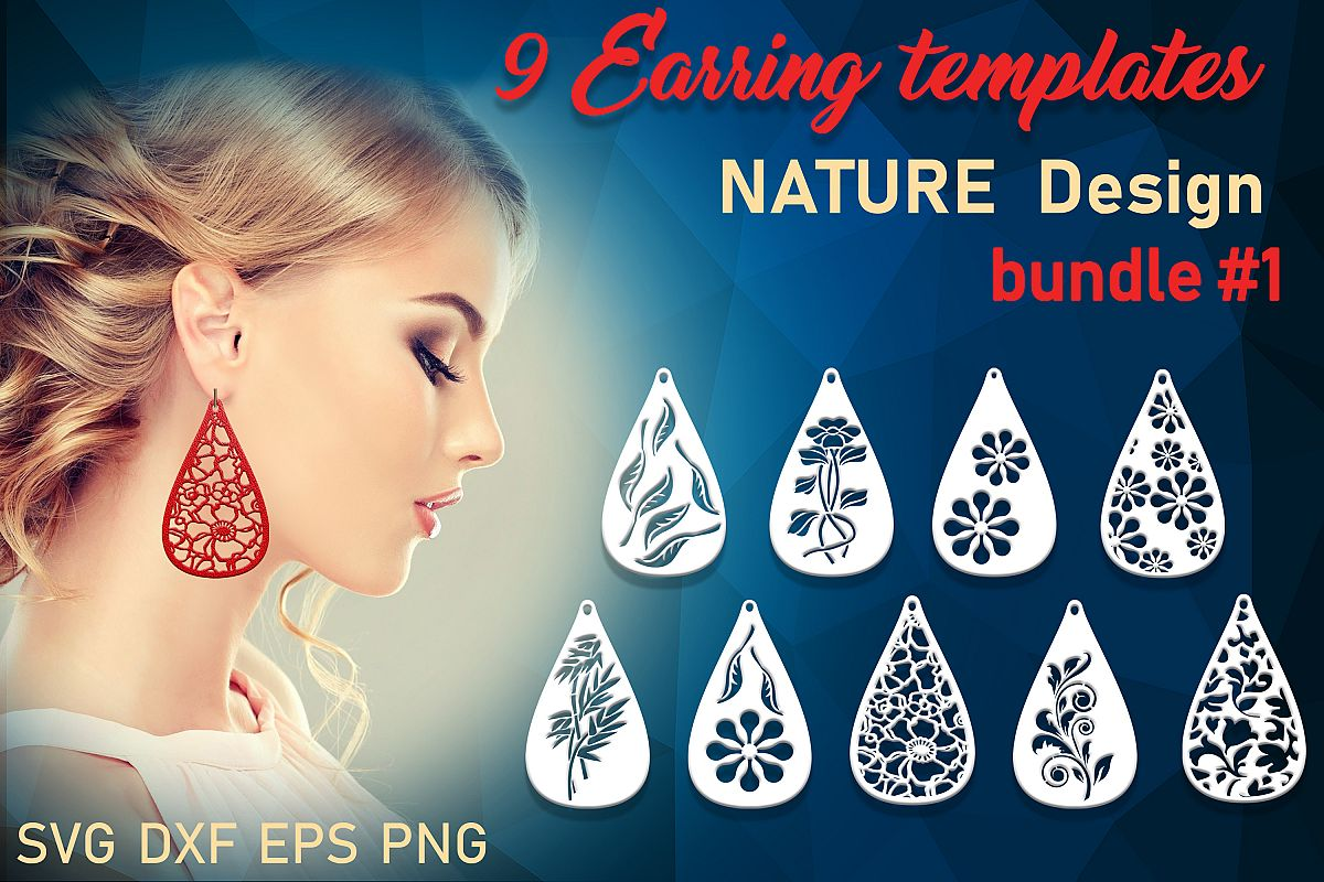 9 Leather earring svg Teardrop earring Nature earrings svg example image 1