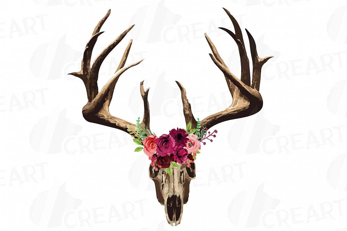 Deer tribal. Floral skull watercolor clip