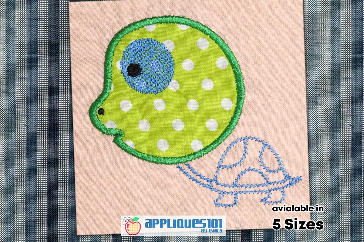 Cute Turtle Machine Embroidery Applique Design - Turtles example image 1