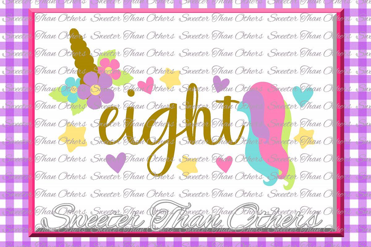 Eighth Birthday SVG, 8th Birthday Unicorn svg example image 1