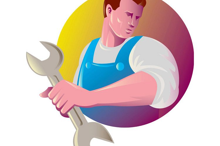 mechanic tradesman worker with spanner example image 1