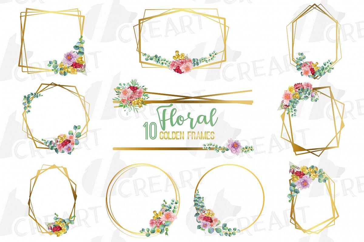 Watercolor floral golden frames and borders clip art pack example image 1