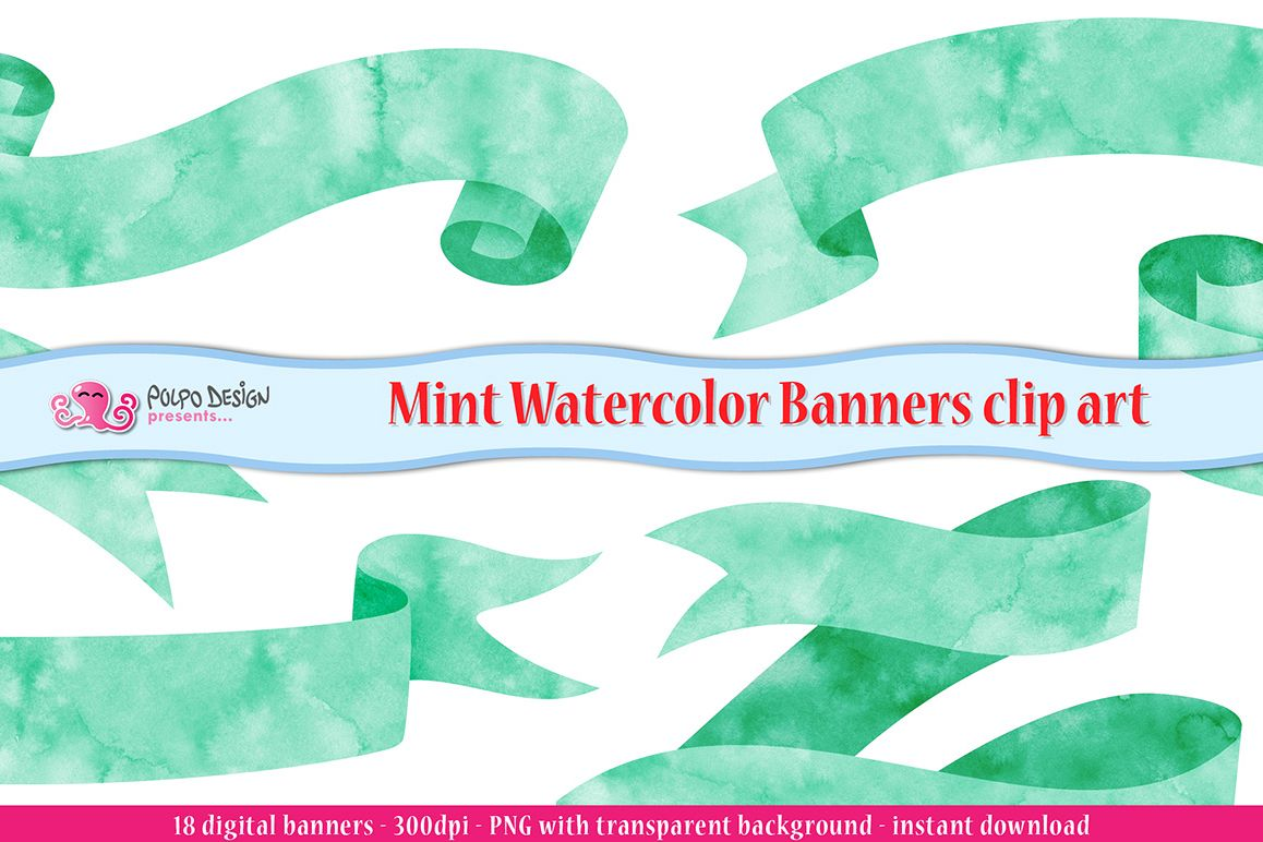 Mint Watercolor Banner clip art example image 1