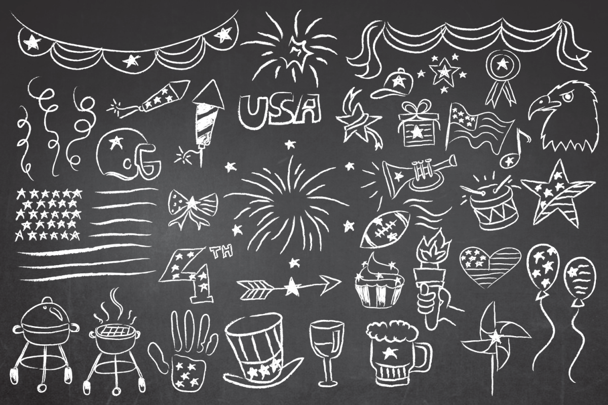 Patriotic 4th of July Chalkboard Vector Clipart in EPS/AI/PDF/PSD example image 1