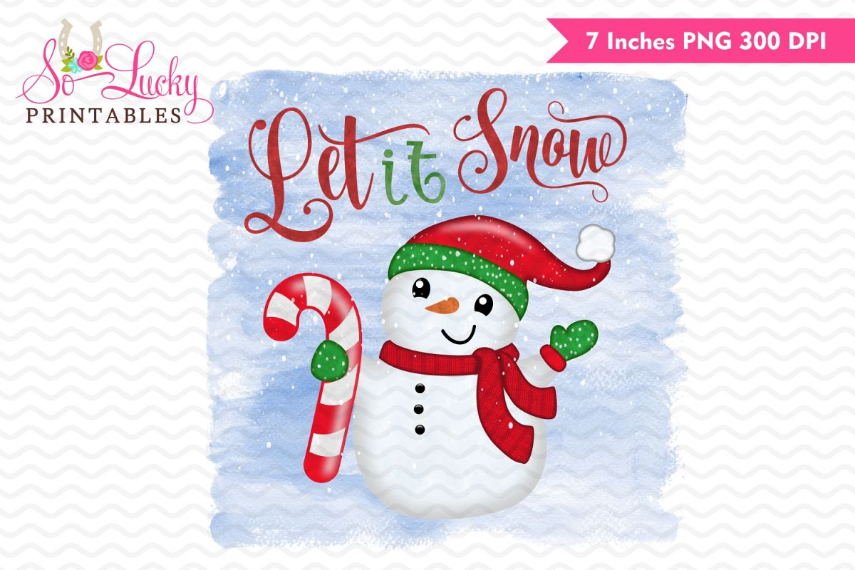 Let it snow Christmas snowman printable sublimation design example image 1