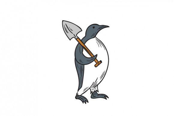Emperor Penguin Holding Shovel Drawing example image 1