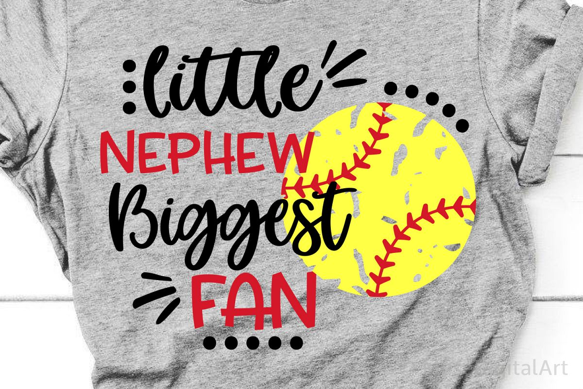 Little Nephew Biggest Fan Svg, Softball Svg Softball Brother example image 1