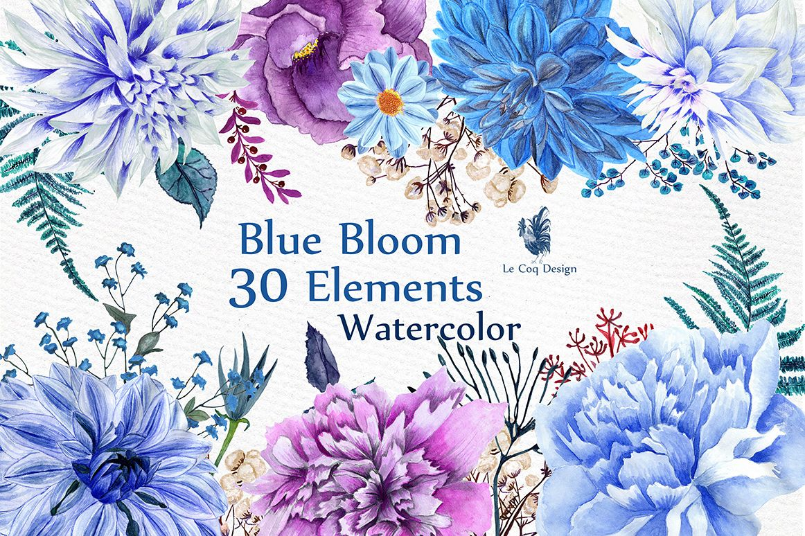 Watercolor Blue Flowers Clipart example image 1