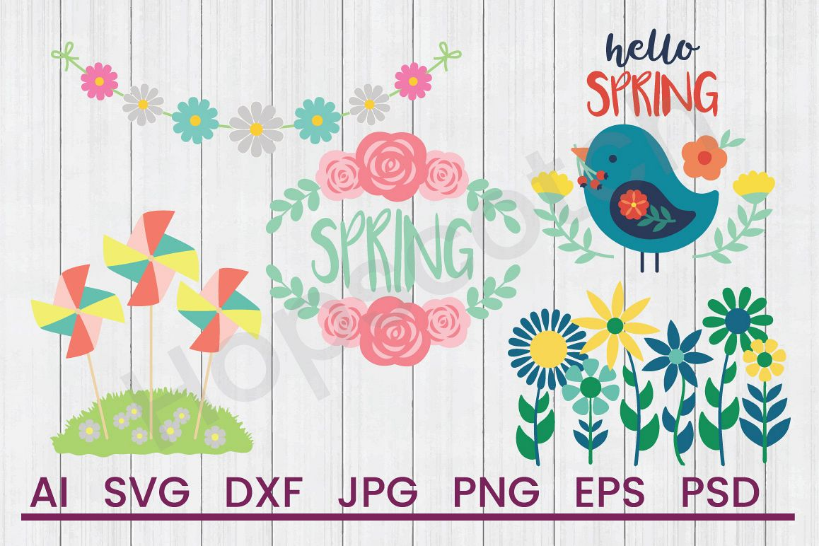 Spring SVG Bundle, DXF File, Cuttable File example image 1