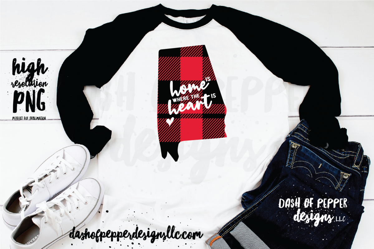Download Alabama Home Is Where The Heart Is A Plaid Png 205666 Sublimation Design Bundles